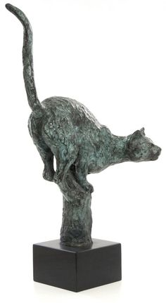 Bronze Cats sculpture by artist Gill Brown titled: 'Cleo (bronze Balancing small Cat Poised on Post statues/statuettes)'