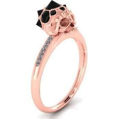 FiorellabyAF Spiky Black Diamond Sugar Skull Engagement Ring 14K Gold