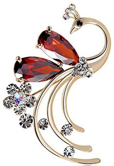 Buy the Women's Peacock Bird Red Swarovski Elements Crystal Brooches and Pin Gold Plated for Party at mariescrystals.com