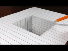 How to Draw a Square Hole in Line Paper - 3D Trick Art - YouTube