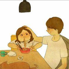 Comendo ao seu lado.