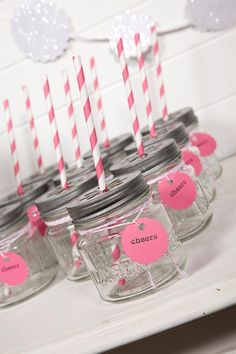 The Papered Nest by ThePaperedNest on Etsy Pink Party Drinks, Fancy Drinks, Pink Parties, Drinking Jars, Bbq Party, Black Party, Perfect Party, Party Fashion, Bright Pink