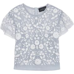 Needle & Thread Meadow cropped embroidered tulle top (2.910 ARS) ❤ liked on Polyvore featuring tops, blouses, shirts, t-shirts, sky blue, cropped tops, sheer blouse, flutter sleeve blouse, embroidered shirts and transparent blouse