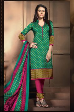 Buy Green Banglori Silk Churidar Suit 63679 online at lowest price from huge collection of salwar kameez at Indianclothstore.com.