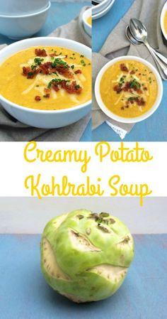 Not sure what to make with kohlrabi? Try this hearty and creamy potato kohlrabi soup - easy to do! @tspbasil