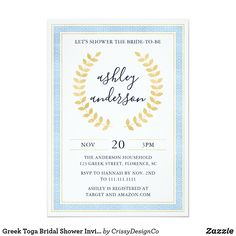 Shop Greek Toga Baby Shower Invitation created by CrissyDesignCo. Baby Shower Invitation Wording, Couples Shower Invitations, Bridal Shower Invitations, Custom Invitations, Party Invitations, Baby Shower Fall, Baby Boy Shower, Greek Toga, Carton Invitation