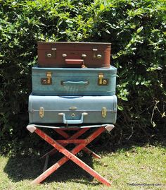 Vintage suitcases are great for pretty storage! | **We will have several for sale at next month's Vintage Flea Market at the Brooklyn Arts Center in Wilmington, NC. Come on out!** | LFF Designs | www.facebook.com/LFFdesigns