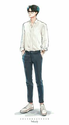 If Sehun is my teacher, I will never be absent. Fashion Illustration Sketches, Fashion Sketches, Character Illustration, Art Sketches, Art Drawings, Drawing Fashion, Drawing Art, Illustrations, Arte Fashion
