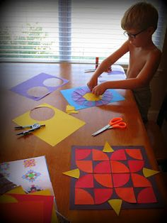 A wonderful idea for work that includes tracing, cutting, math, and art! Tracing circles and cutting fraction segments helps visually reinforce how fractions relate to a whole. After the math and cutting on a line practice is done, the shapes can be re-purposed into beautiful geometric patterns and mosaics!