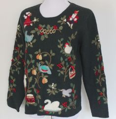 Women's Medium 12 Days Of Christmas Dark Green Wool Embroidered Beaded Sweater #NorthernIsles #ScoopNeck