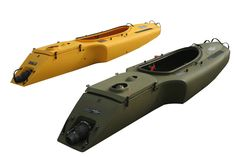MOKAI JET POWERED KAYAK | The Mokai is a jet-propelled kayak great for fishing, camping, hunting and many other manly activities conducted on the water. The Mokai's roto-molded hull is constructed from lightweight, durable polyethylene powered by a Subaru 7HP 4-stroke motor propelling the watercraft to speeds of up to 17MPH.