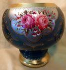Moser Bohemian Applied Enamel & Gilded Floral Cobalt Blue Glass Bowl Vase