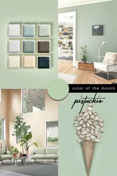 Green interior trend: try these 4 new greens in 2020 / green wall paint, dark green wall decor and green interior inspirations on ITALIANBARK Living Room Green, Green Rooms, Living Room Colors, Green Wall Color, Green Paint Colors, Green Room Colors, Colours, Light Green Walls, Light Green House