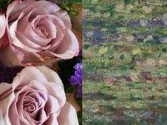 """Memory Lane Rose - """"This particular rose was chosen to pick out the pastel lilac and blue tones used throughout this beautiful painting. Its soft lavender centre is edged with a delicate frill of deep pink as seen on the outer petals of the water lilies. Lavender coloured roses are a symbol of enchantment. Anyone gazing at this painting will be under the spell of Monet's subtle palette and impressionist style."""" – Prestige Flowers #NGArtBouquet #Bouquet #Florist #Flowers #Art"""