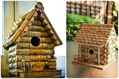 Bird houses out of wine corks. I'd use for inside decorations myself. Wine Cork Art, Wine Cork Crafts, Wine Corks, Diy Projects To Try, Garden Projects, Bird Feeder Plans, Wine Cork Projects, Wine Stoppers, Recycled Art