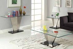 Silverstone Black Silver Metal Glass Sofa Table