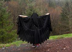 Mockingjay Raven Blackbird Owl Custom Bird Cloak Painted on Etsy, $340.00