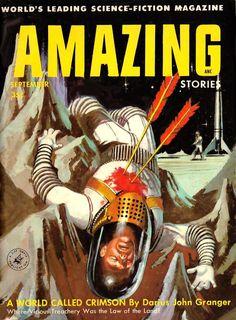 AMAZING STORIES MAGAZINE   pulp cover science fiction vintage art