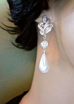 Bridal Jewelry  Long  White  Pearl earrings  by QueenMeJewelryLLC, $64.99