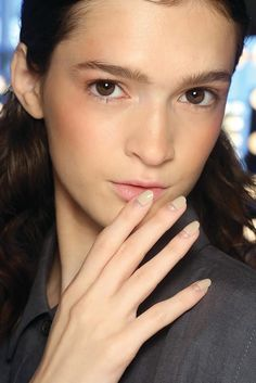 DIY This Neutral Sparkly Nail Art Straight From the NYFW Runway: New York Fashion Week Spring 2015 may be over, but while we'll have to wait until next year to sport any of the runway looks, you can get one of our favorite nail-art looks right now!