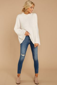 afd0919eea Stylish White Chenille Knit Sweater - Oversized Sweater - Top -  48.00 –  Red Dress Boutique