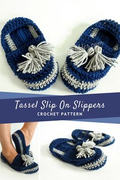 Crochet Pattern - Tassel Slip- On Slippers: These slippers are a perfect combination of boho and modern style. They're worked up in single crochet so not only are they a fast crochet, but they're also an easy one. CLICK THIS NOW! Fast Crochet, All Free Crochet, Love Crochet, Single Crochet, Crochet Lace, Irish Crochet, Crochet Flowers, Crochet Amigurumi Free Patterns, Crochet Stitches Patterns