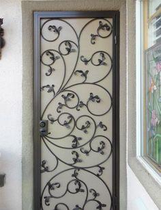 New Iron Screen Door Wrought 50 Ideas Wrought Iron Security Doors, Wrought Iron Decor, Wrought Iron Gates, Metal Screen Doors, Iron Doors, Gate Design, Door Design, Door Grill, Window Grill Design