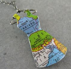 Recycled Vintage Tin Mini Dress Necklace No. 108 Map of by shixie