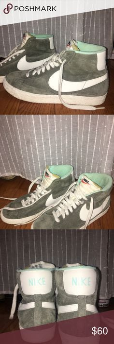 Nike for J.Crew high top suede sneakers Women's high tops in olive green with light blue detail, size 9.5. Worn once, great condition. Nike Shoes Sneakers