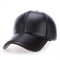Mens Outdoor Adjustable Earmuffs Artificial Leather Baseball Cap Casual  Middle-Aged Dad Hat c4fb0e1e97de