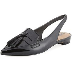 Elie Tahari Pacer Loafer-Style Patent Leather Slingback Flat ($55) ❤ liked on Polyvore featuring shoes, loafers, black, strappy flats, pointed toe slingback flats, black pointed toe flats, black slingback flats and black loafers
