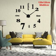 Diameter 60cm 120cm Modern 3d Acrylic Mirror Diy Wall Clock For Home Living Room Decoration In 2020 Wall Clock Design Home Office Decor Diy Clock Wall