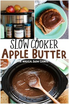 Slow Cooker Apple Butter is thick and perfectly spiced! Great for breakfast or even in recipes such as apple butter pork chops. - The Magical Slow Cooker Slow Cooker Apples, Slow Cooker Recipes, Crockpot Recipes, Apple Recipes, Fall Recipes, Vegan Recipes, Homemade Apple Butter, Crockpot Apple Butter, The Magical Slow Cooker