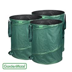 GardenMate 3pack 43 Gallons PopUp Garden Waste Bags  Collapsible spring bucket  Collapsible Container ** Details can be found by clicking on the image.