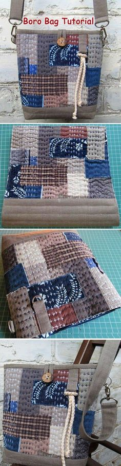 Japanese Boro Denim Tote Bag. DIY step-by-step tutorial with pictures. Learn more about Japanese sewing patterns and books at www.japanesesewingpatterns.com