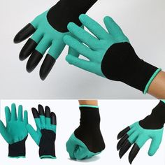 New Garden Gloves with 4 ABS Plastic Claws for Digging and Planting - 1 Pair