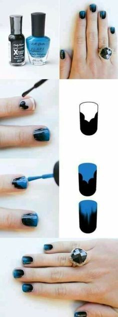 Nails blue with black. Uñas negro con azul