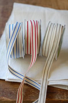 """30 Yard Spool of Ribbon - French Stripe - Natural Cotton, 5/8"""" wide"""