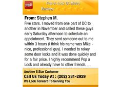 Five stars. I moved from one part of DC to another in November and called these guys...
