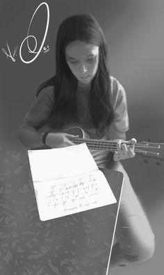 My sister playing ukulele drawing