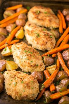 A quick and easy one pan chicken dinner with roasted potatoes and carrots. This one dish chicken couldn't get any easier. Perfect for busy weeknights!