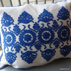Cushion cover from antique Romanian embroidery, this embroidered panel comes from folk clothing 47 x Backed with vintage Hand Embroidery Dress, Folk Embroidery, Embroidery Patterns, Stitch Patterns, Soutache Pattern, Folk Clothing, Hungarian Embroidery, Embroidered Cushions, Heirloom Sewing