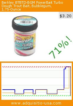 Berkley BTBTD-BGM PowerBait Turbo Dough Trout Bait, Bubblegum, 1.75-Ounce (Sports). Drop 71%! Current price $3.20, the previous price was $10.88. https://www.adquisitio-usa.com/berkley/btbtd-bgm-powerbait-turbo
