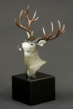 """""""Mule Deer"""", in a multiple patina; an authentic wildlife fine art bronze sculpture, by Steven Knight. Find this and more beautiful fine art at www.artbyknight.com"""