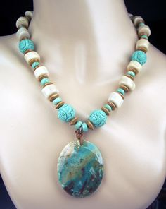 SALE - 20% off - Chrysocolla and Turquoise Statement Necklace Multicolor Bold Chunky Necklace. $79.00, via Etsy.
