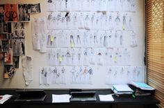 Fashion Design Studio fashion wall with mood board of inspiration and designs - developing a fashion collection; the creative process.