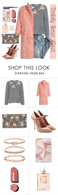 """Teddy Bear Coats #2"" by loewenangel ❤ liked on Polyvore featuring J.Crew, RED Valentino, Preen, New Look, Accessorize, Clé de Peau Beauté, Chanel, Hourglass Cosmetics, floral and Pink"