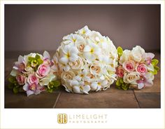 Plumeria and Rose Bridal Bouquet, pink and green bridesmaid bouquets - Flowers by Heidi, Four Seasons Resort Hualalai Weddings