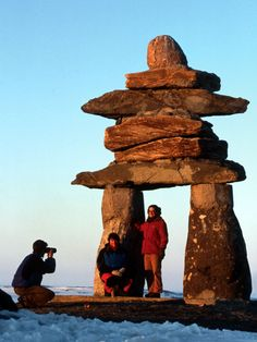 """Rankin Inlet Inuksuk, Nunavut, Canada . Inuksuk symbol found all  'over Canada. Used for navigation by the'' Intuit Indians"""" symbol symbolized safety, hope, friendship."""