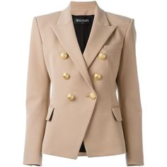 Balmain double breasted blazer ($1,842) ❤ liked on Polyvore featuring outerwear, jackets, blazers, coats & jackets, coats, long sleeve jacket, balmain, beige jacket, blazer jacket and balmain jacket